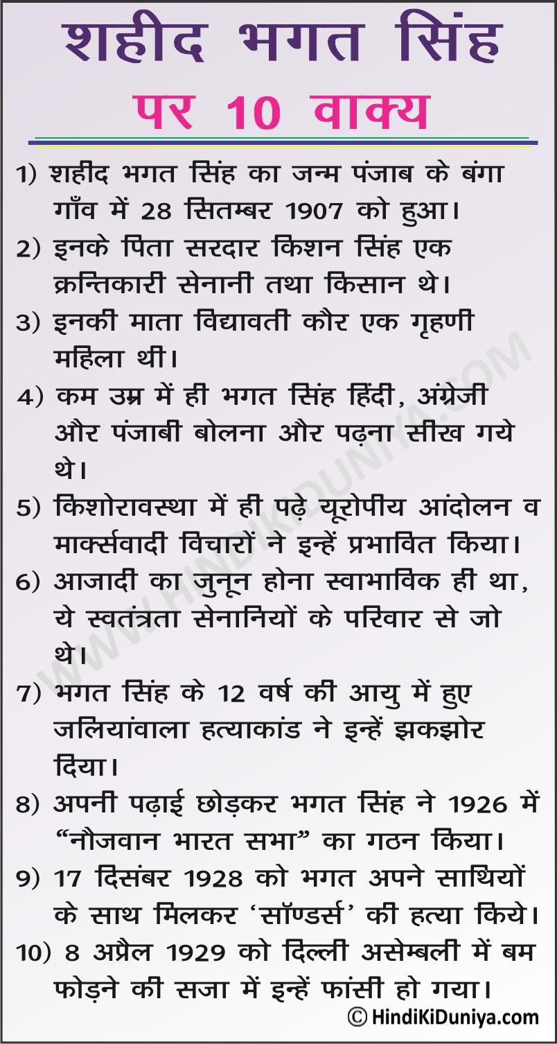 10 Lines on Bhagat Singh