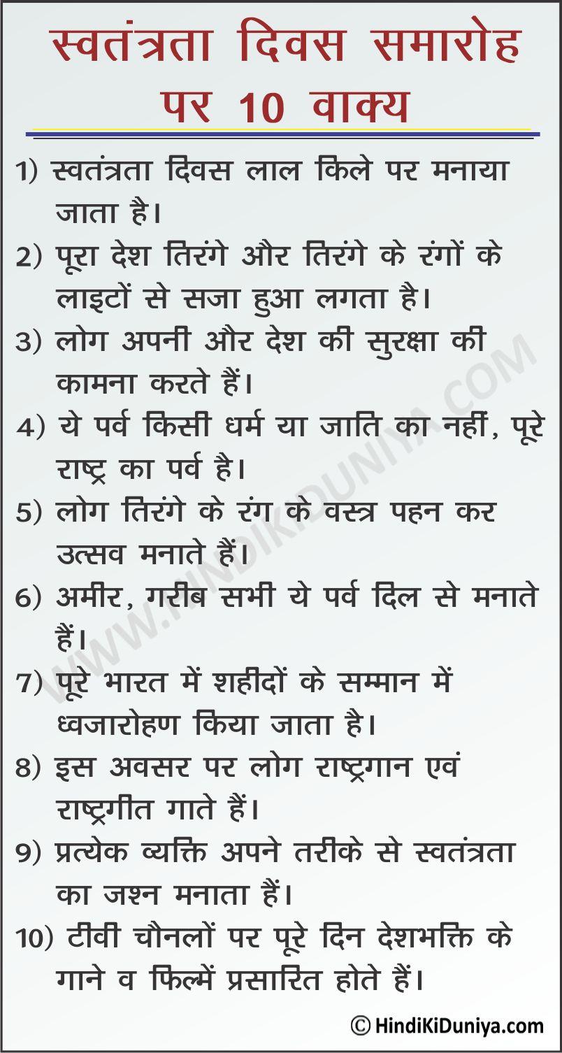 10 Lines on Independence Day Celebration