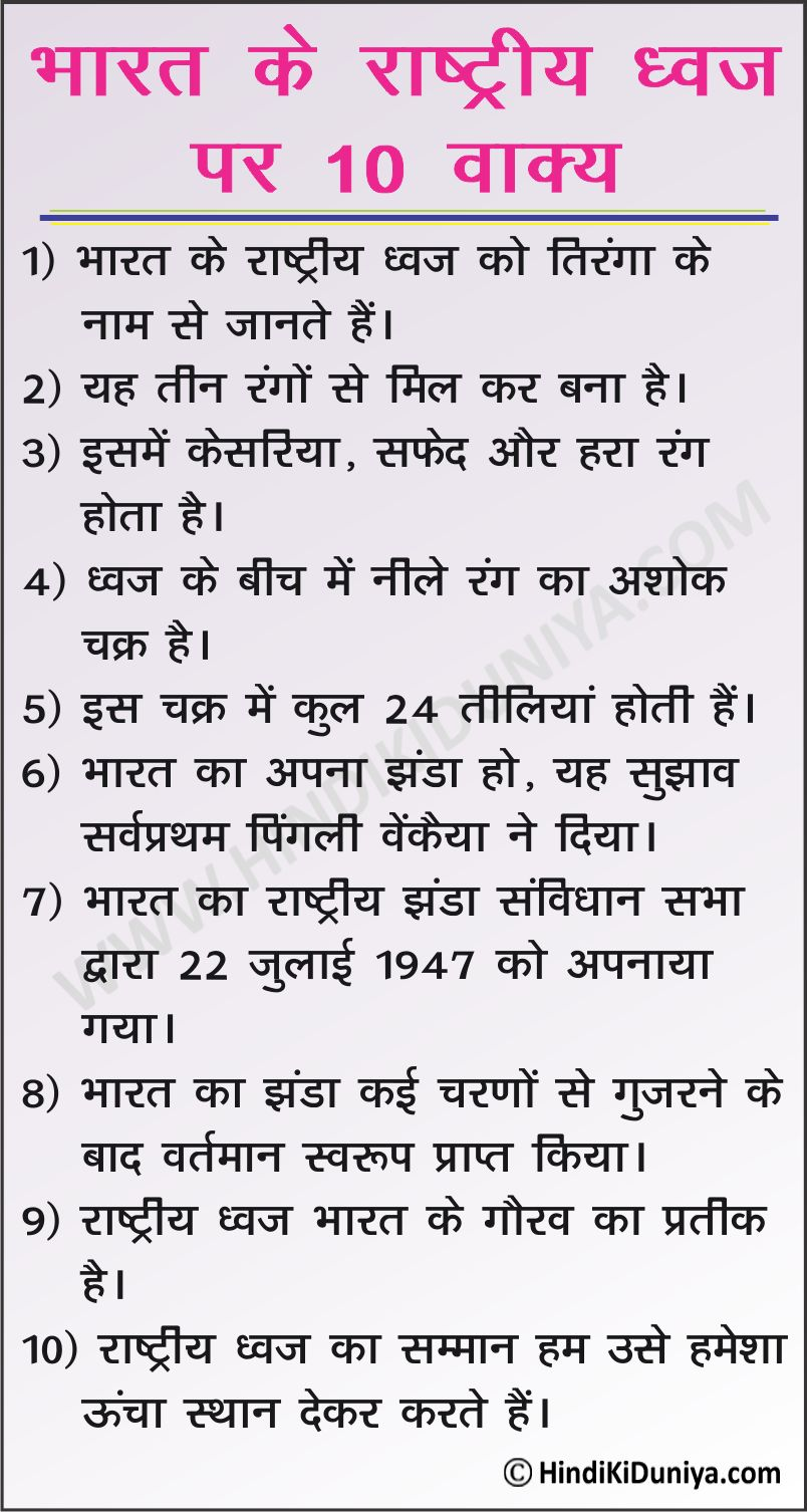 10 Lines on National Flag of India