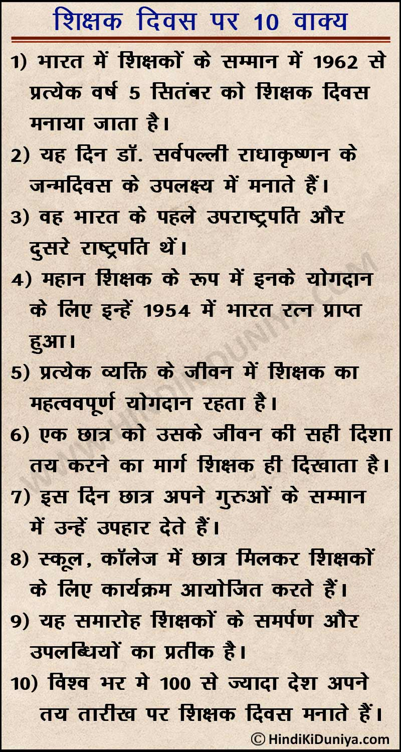 10 Lines on Teacher's Day 2021 in Hindi