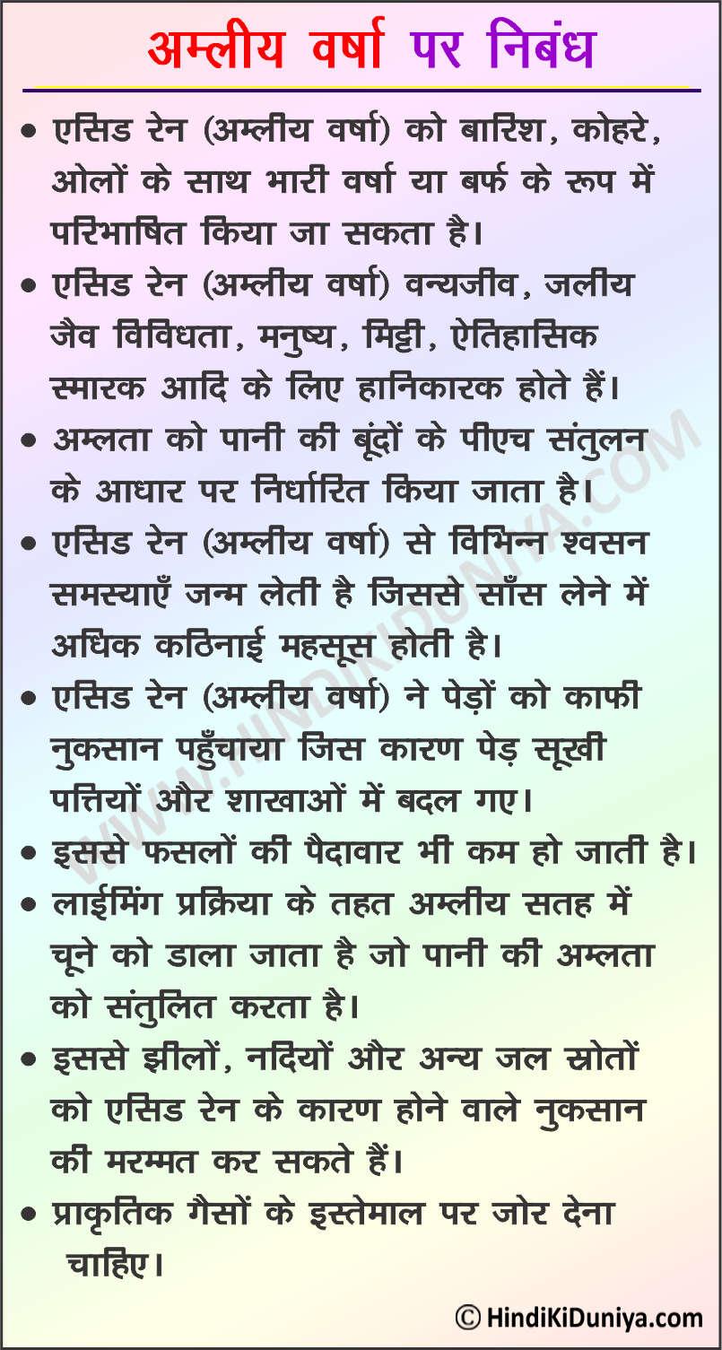 Essay on Acid Rain in Hindi