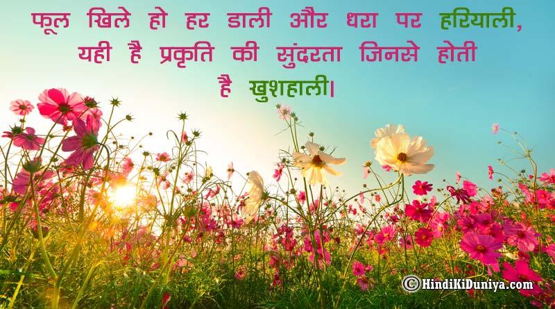 फूल खिले हो हर डाली और धरा पर हरियाली, यही है प्रकृति की सुंदरता जिनसे होती है खुशहाली।
