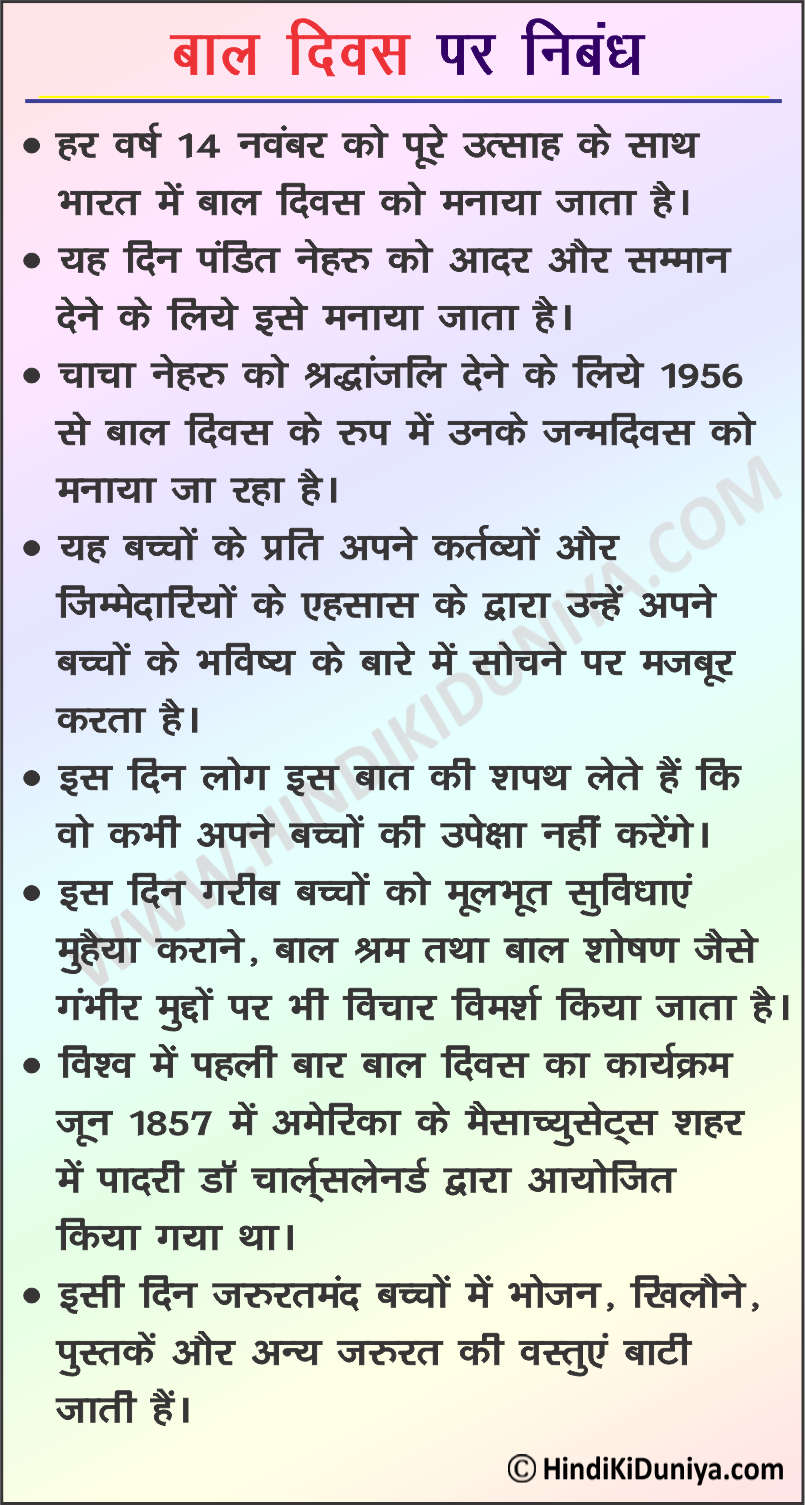 Essay on Childrens Day in Hindi