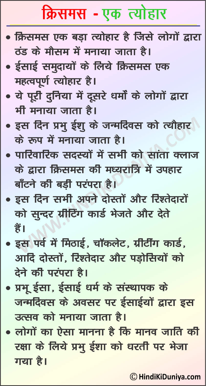 Essay on Christmas in Hindi
