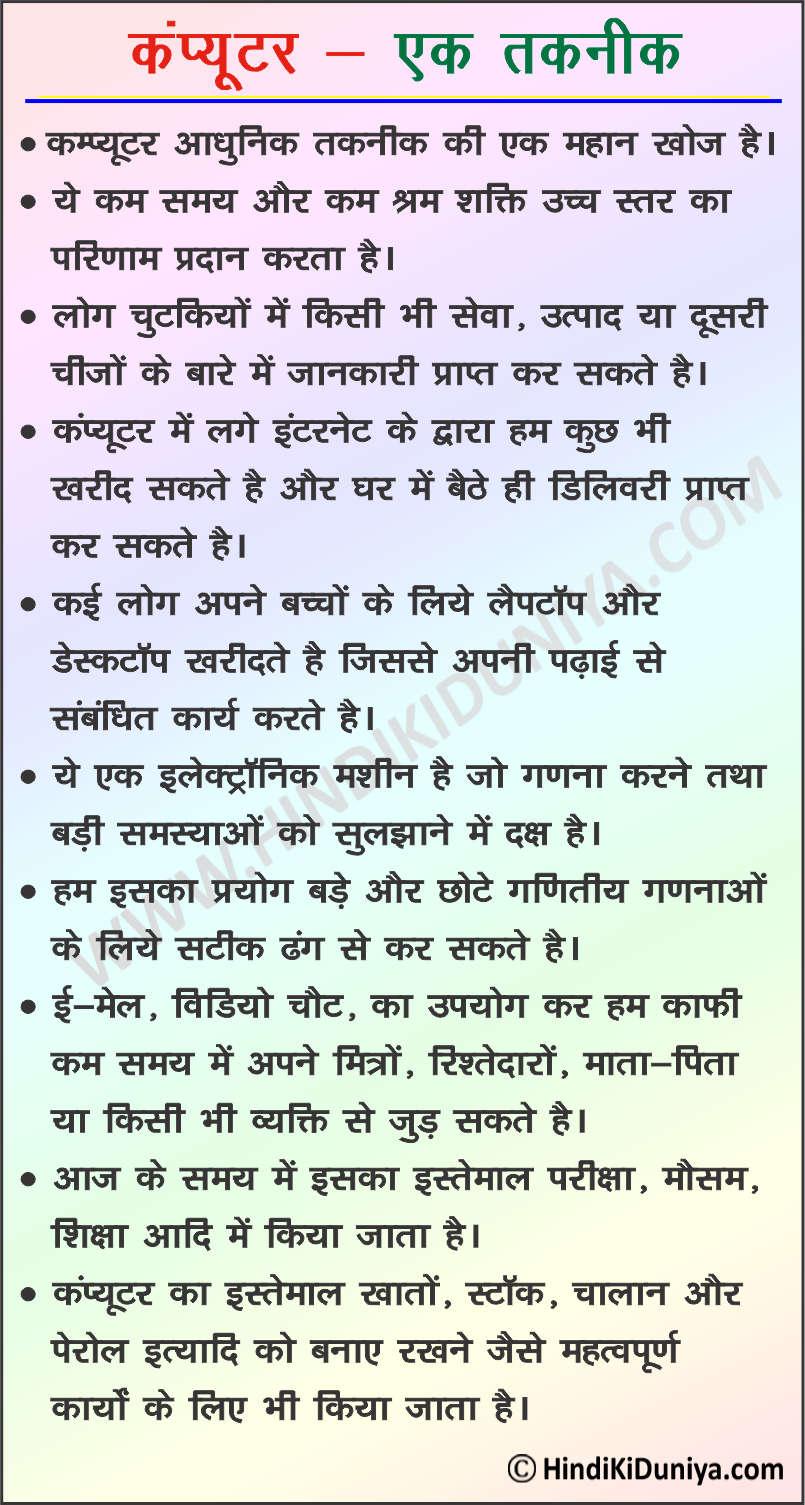 Essay on Computer in Hindi