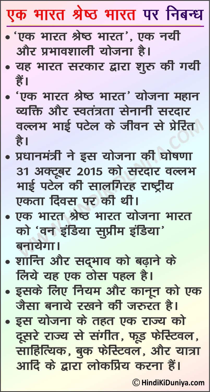 Essay on Ek Bharat Shreshtha Bharat in Hindi