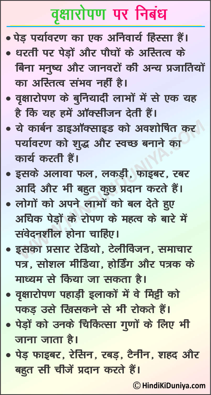 Essay on Benefits of Planting Trees in Hindi