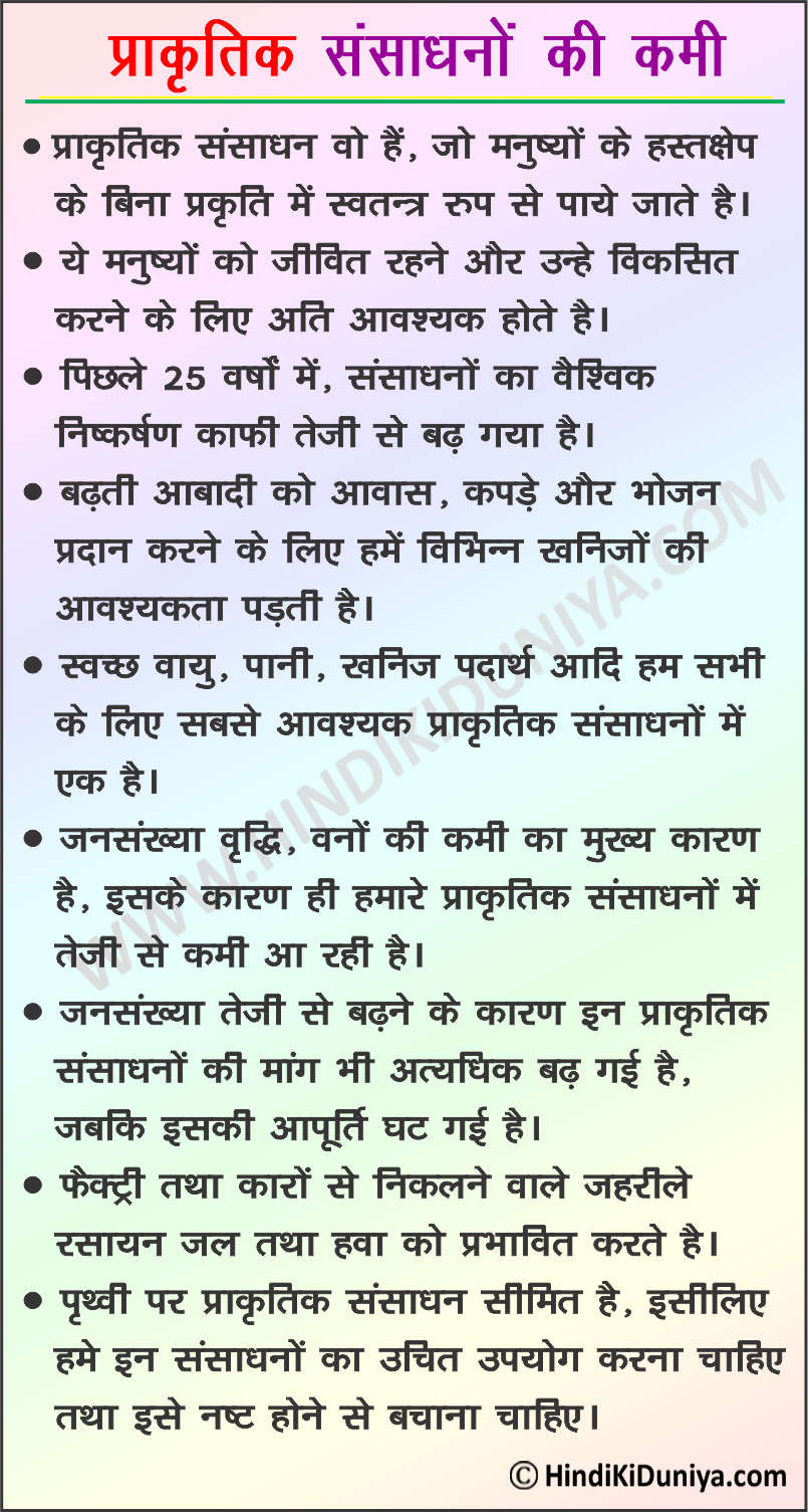 Essay on Depletion of Natural Resources in Hindi