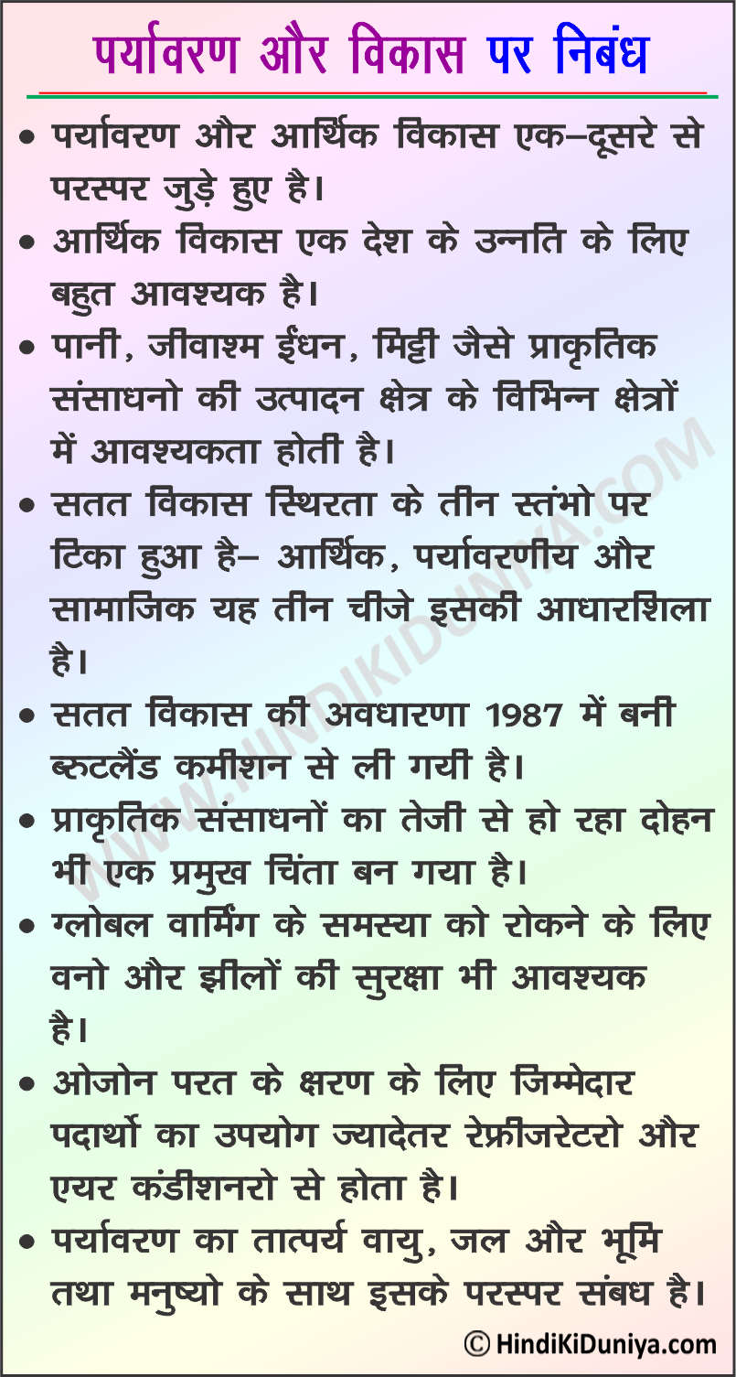 Essay on Environment And Development in Hindi