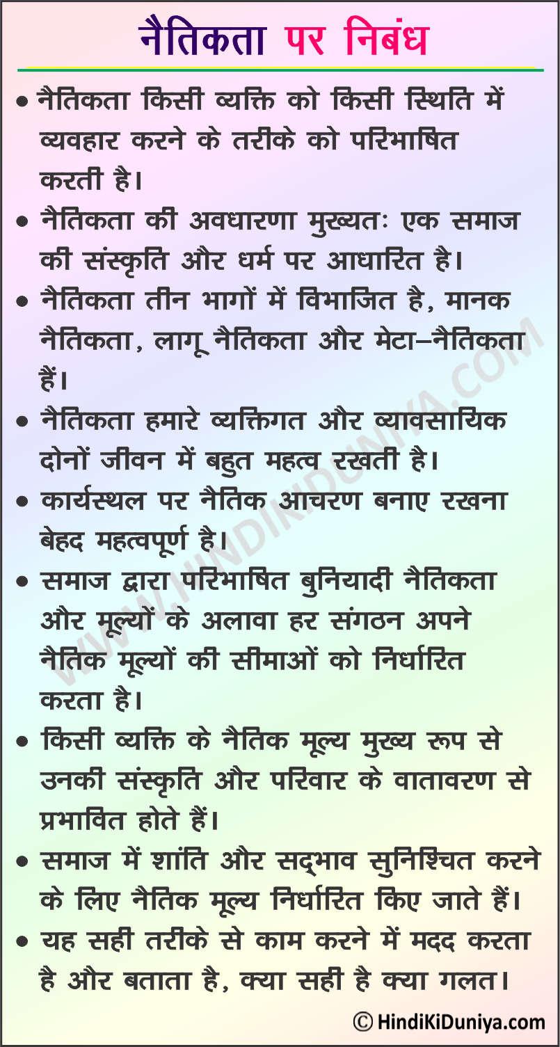 Essay on Ethics in Hindi