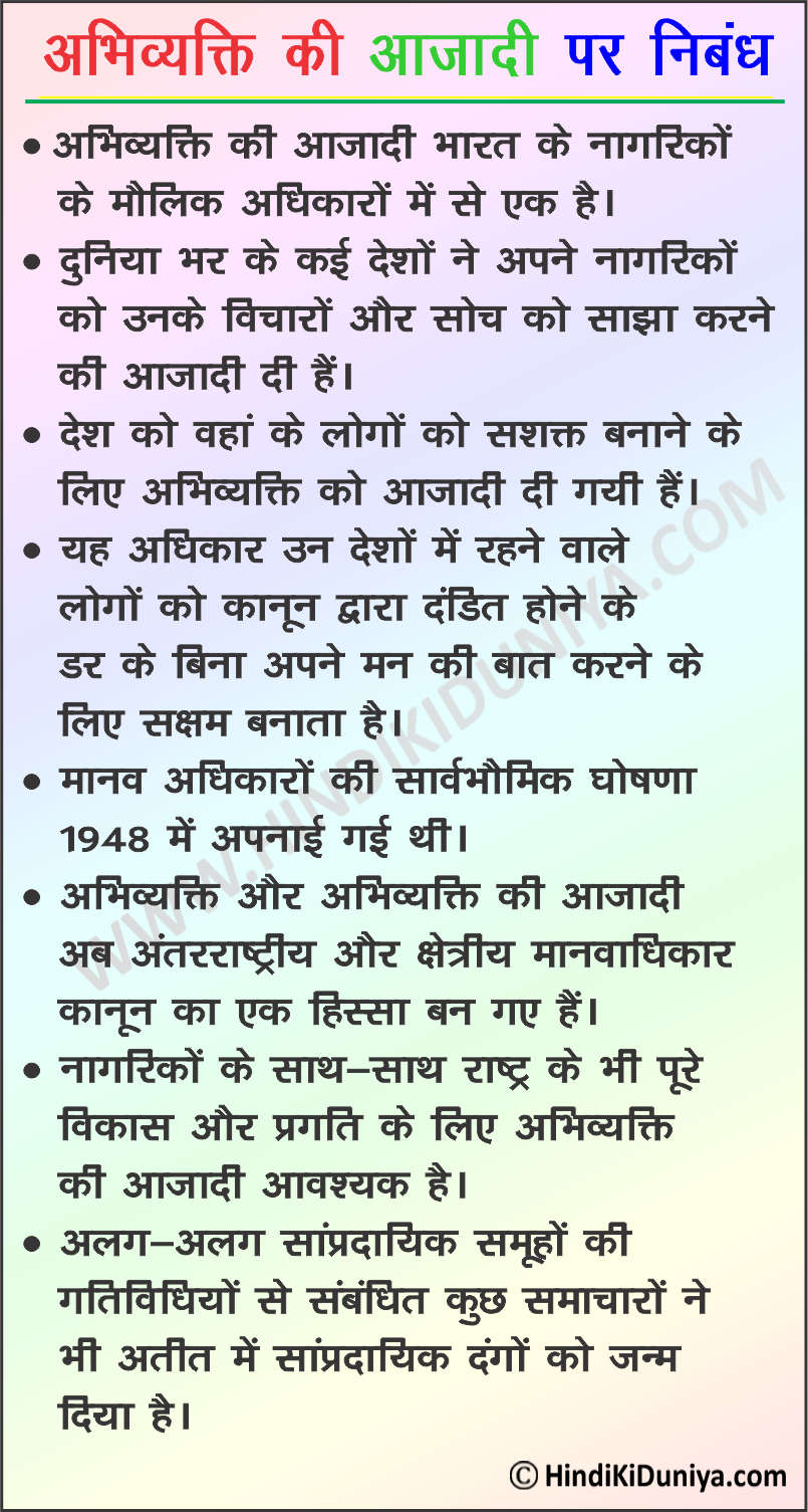 Essay on Freedom of Speech in Hindi