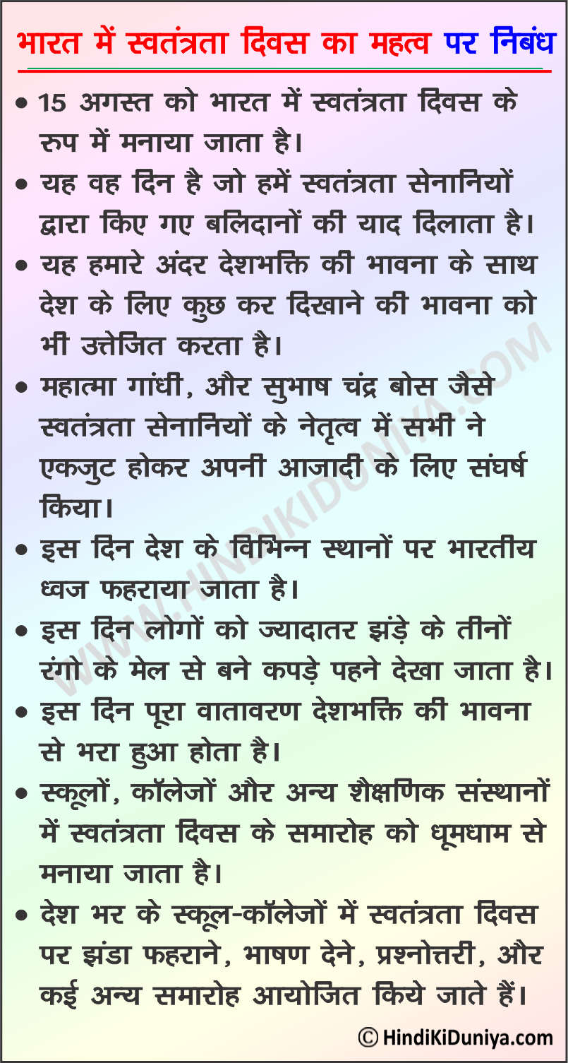 Essay on Importance of Independence Day in India in Hindi