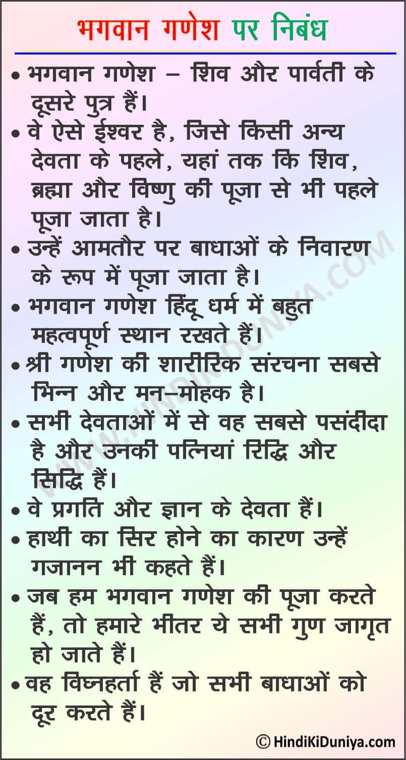 Essay on Lord Ganesha in Hindi