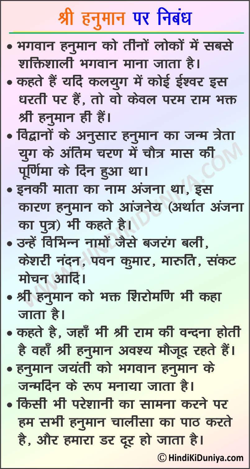 Essay on Lord Hanuman in Hindi
