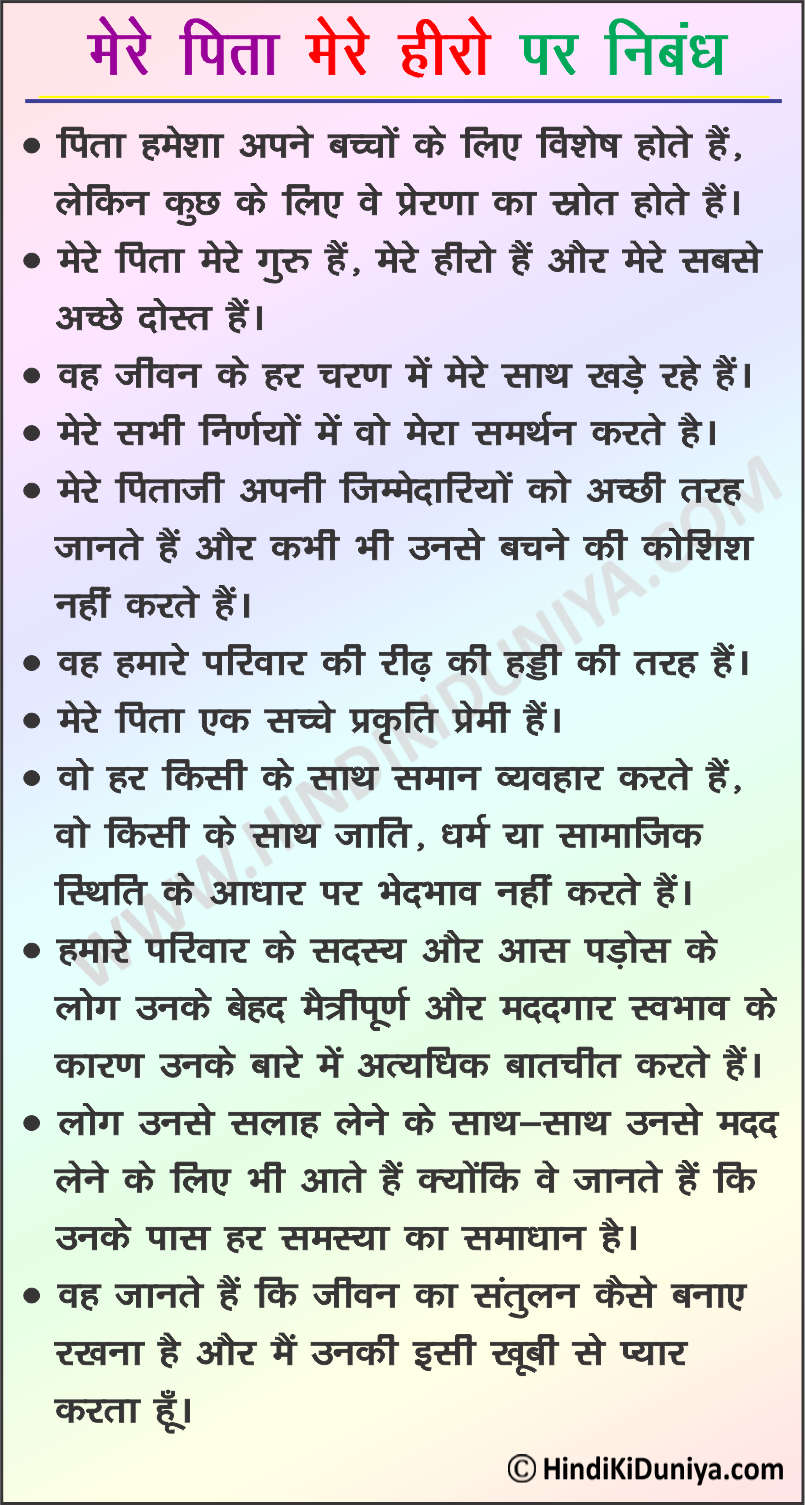 Essay on My Father My Hero in Hindi