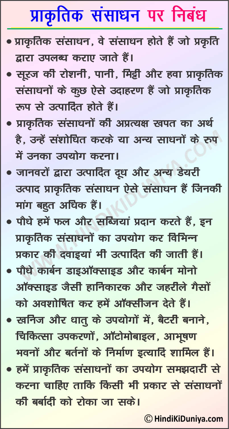 Essay on Natural Resources in Hindi