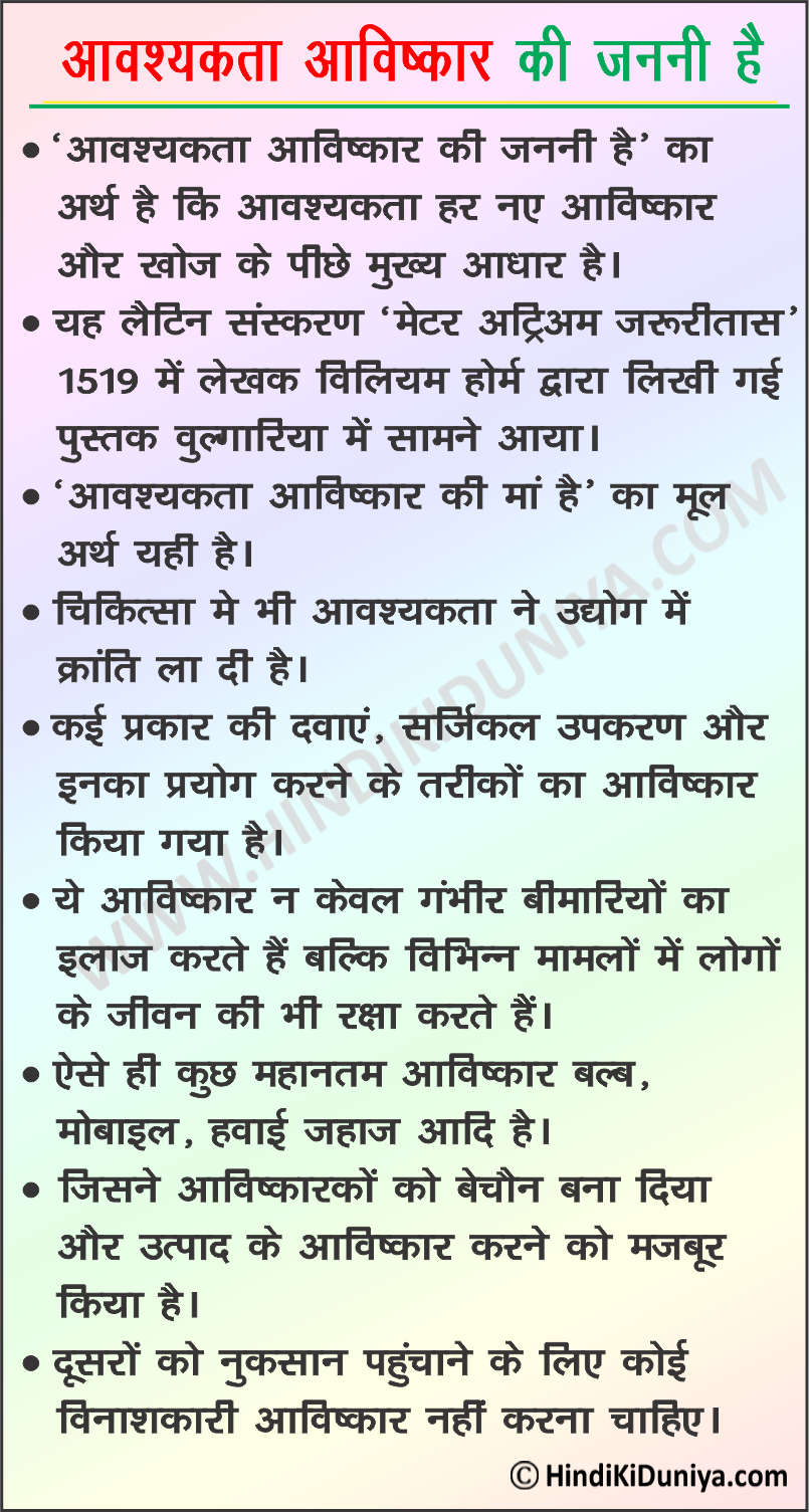 Essay on Necessity is The Mother of Invention in Hindi