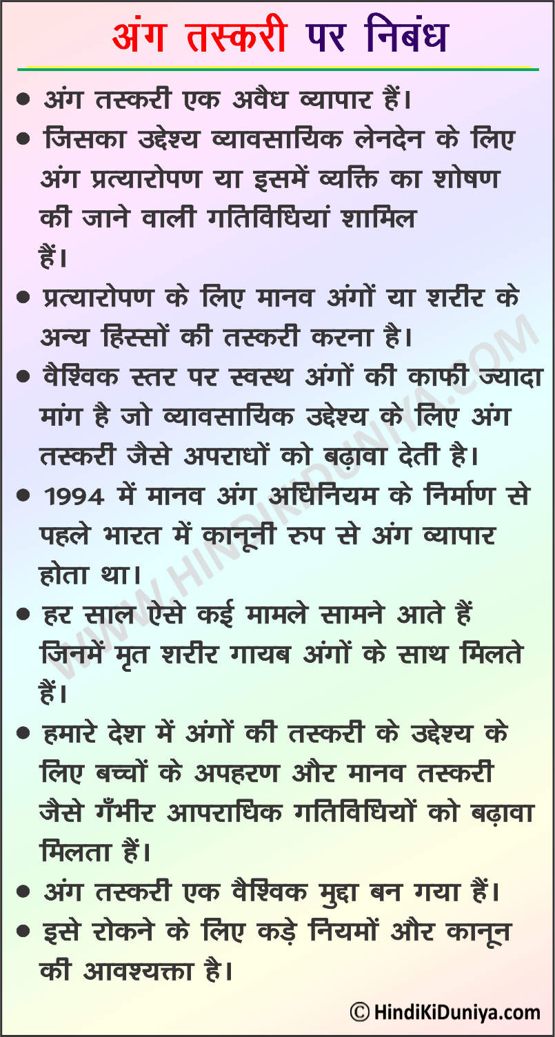 Essay on Organ Trafficking in Hindi