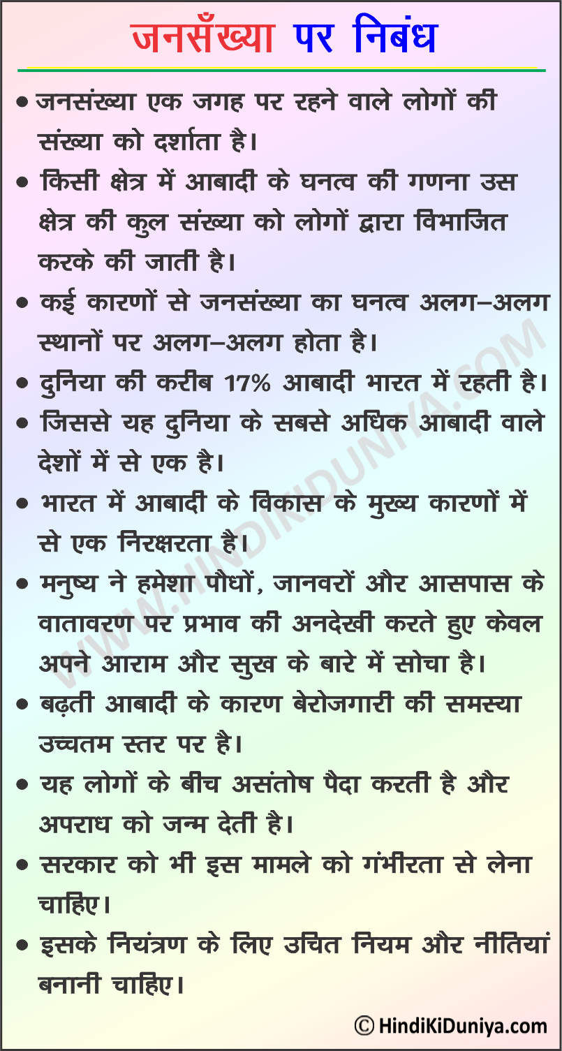 Essay on Population in Hindi