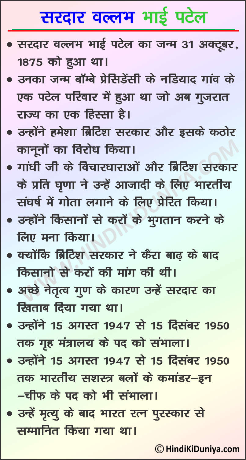 Essay on Sardar Vallabh Bhai Patel in Hindi