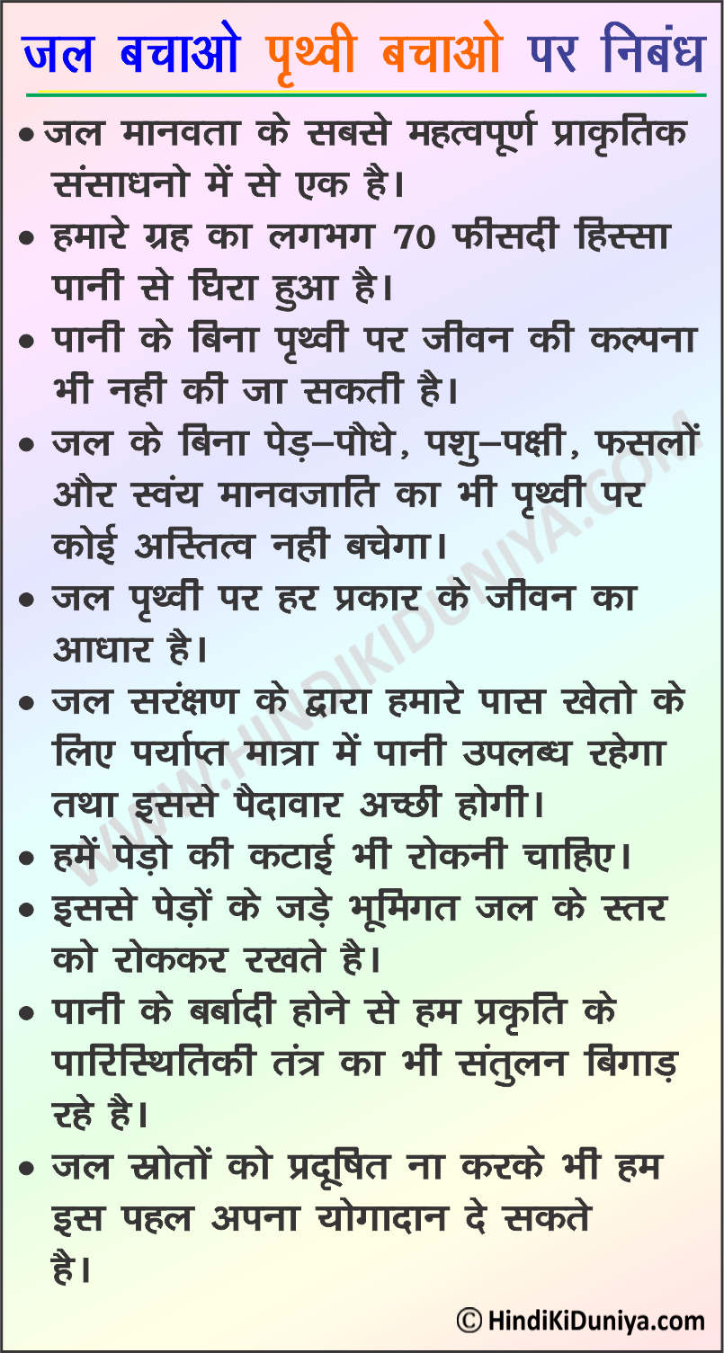 Essay on Save Water Save Earth in Hindi