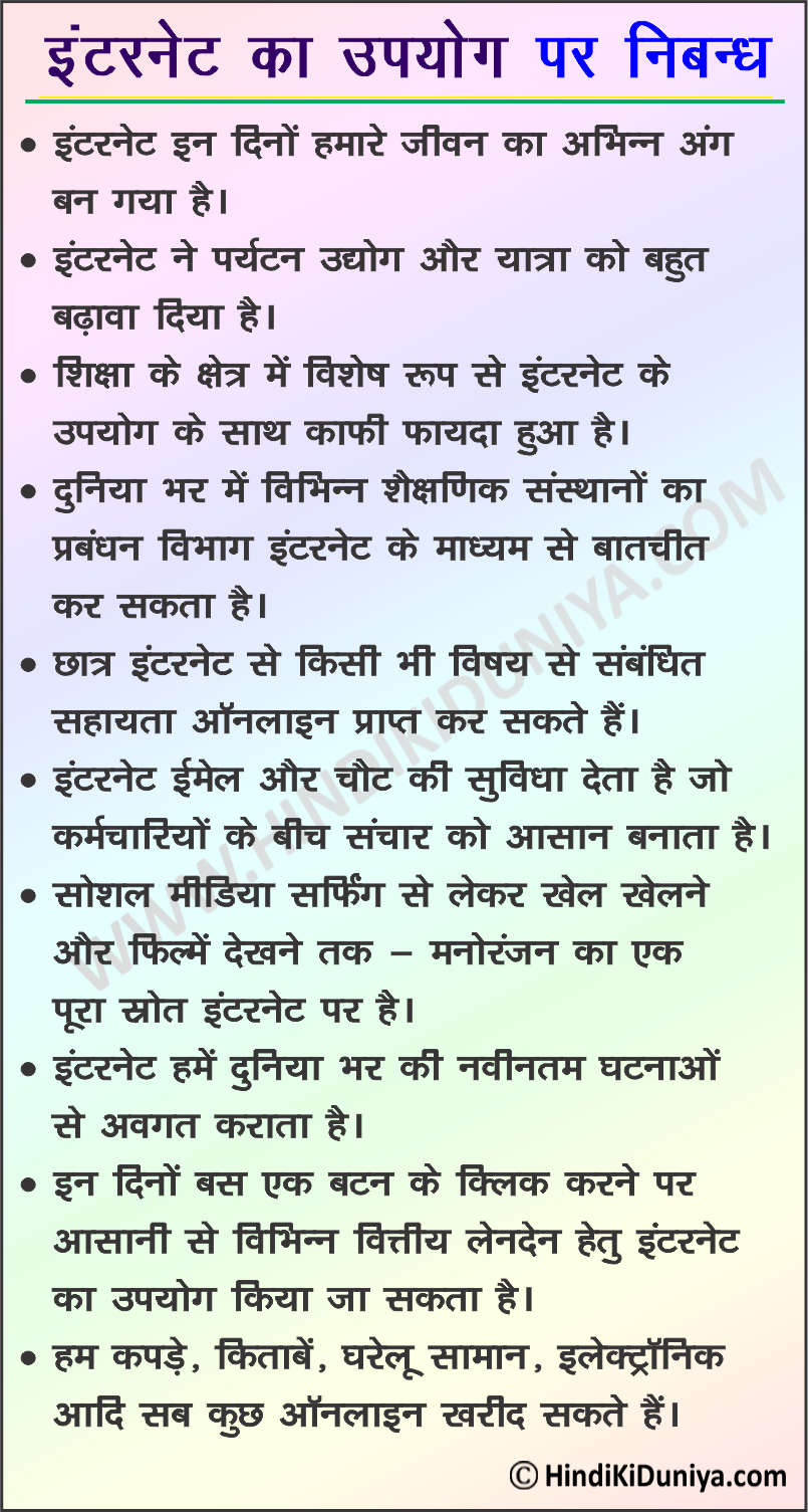 Essay on Uses of Internet in Hindi