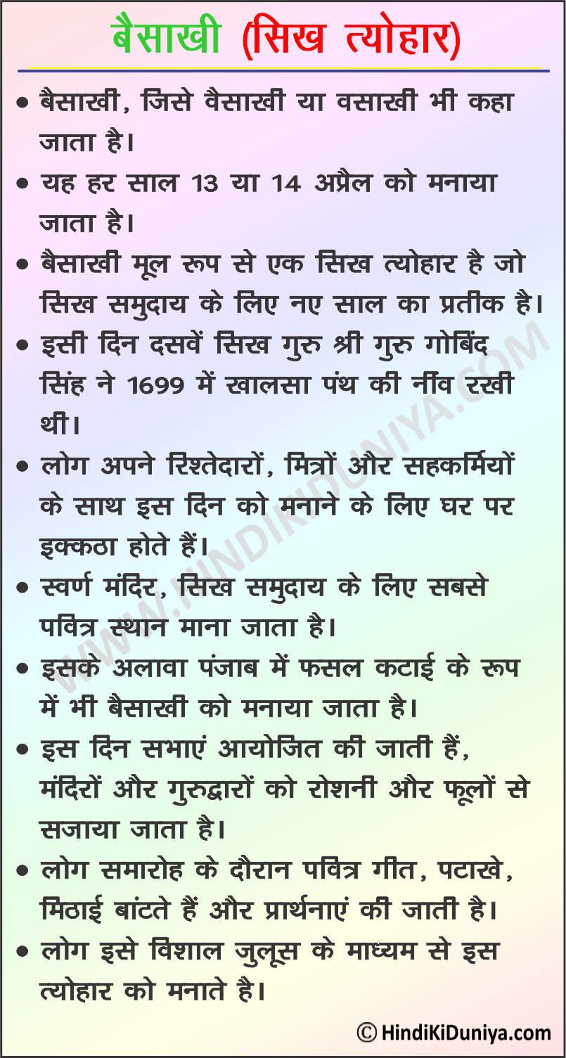 Essay on Vaisakhi in Hindi