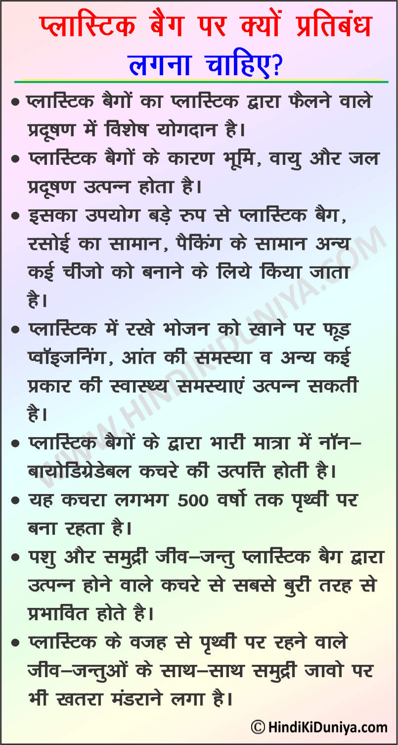 Essay on Why Plastic Bags Should Be Banned in Hindi