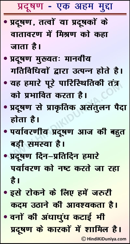 Pollution Essay in Hindi