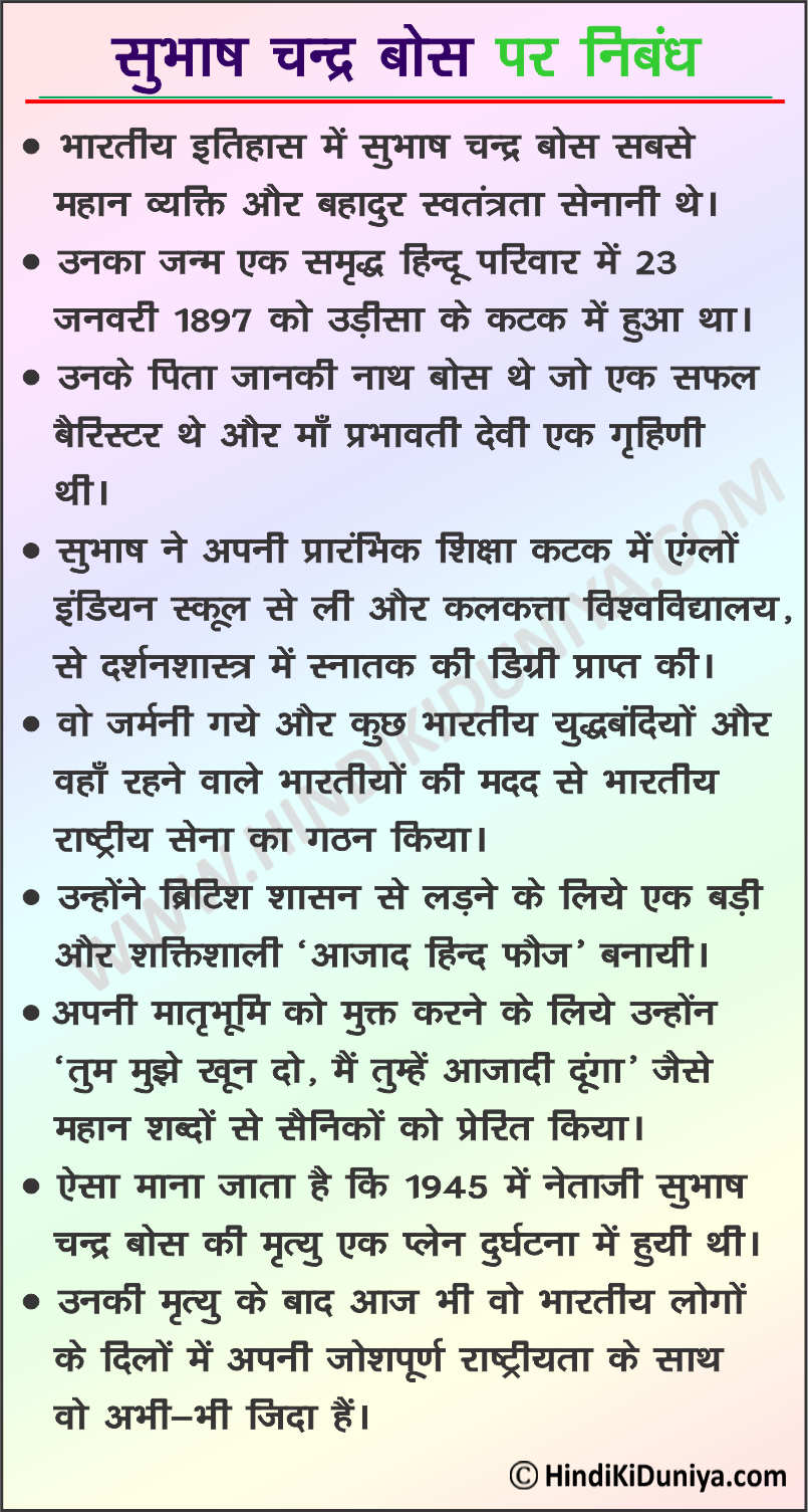Essay on Subhas Chandra Bose in Hindi