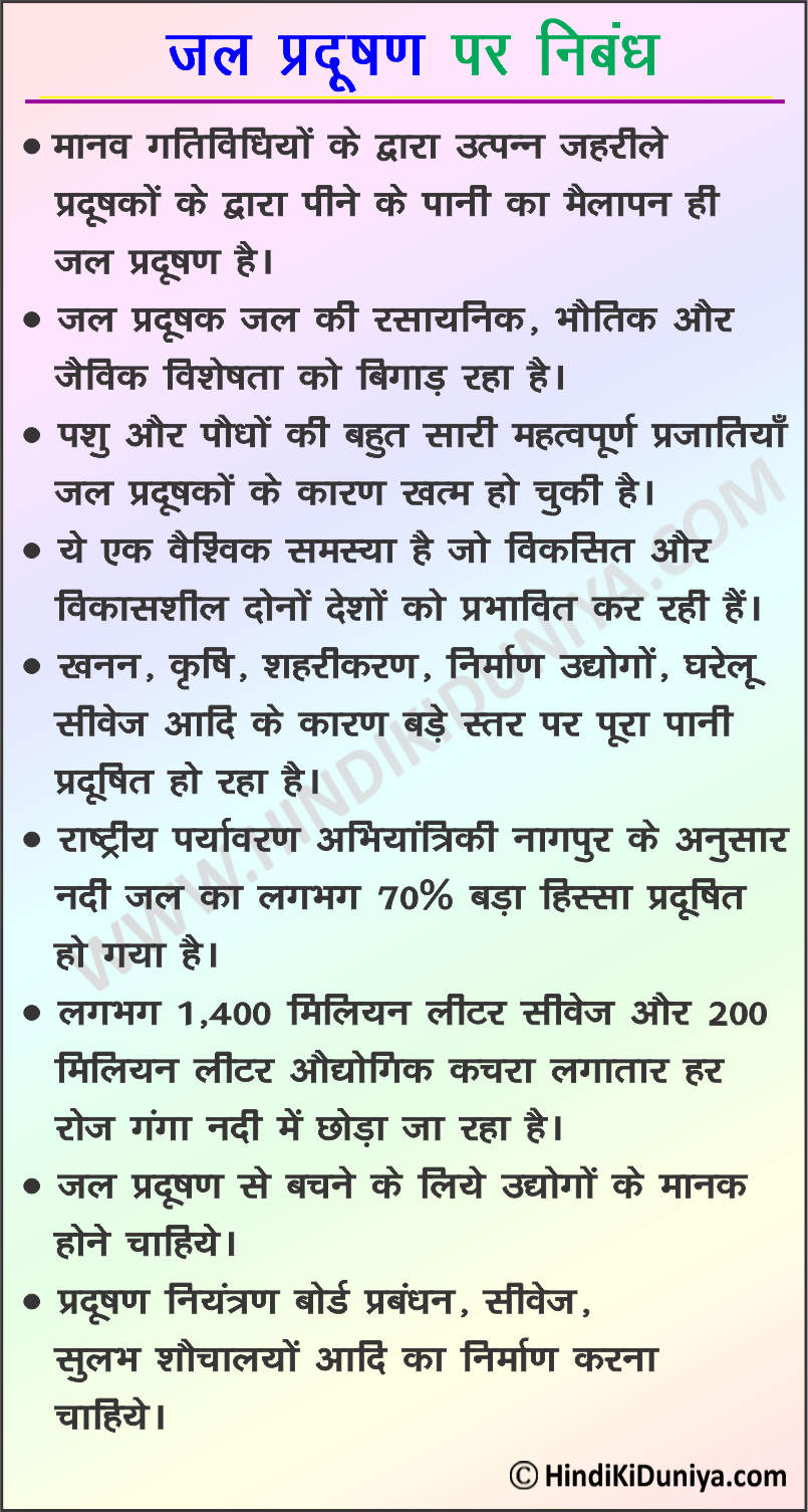 Essay on Water Pollution in Hindi